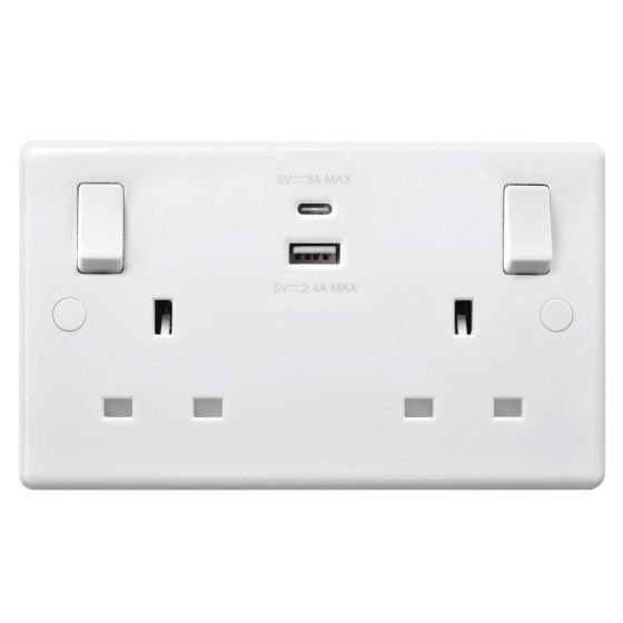 Image of Avenue Contour Type-C USB Socket 2 Gang 13A SP Switched White