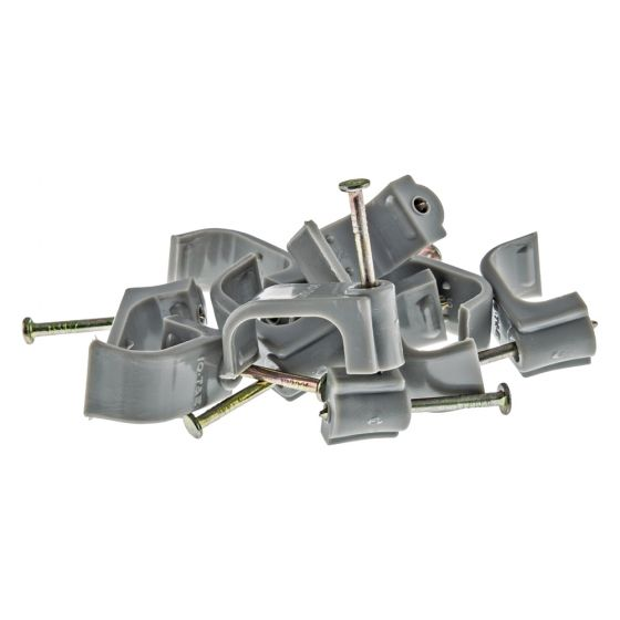 Image of Tower 70CGKF100 Flat Cable Clip for 10mm Twin & Earth Grey Pack 100