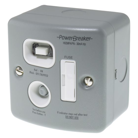 Image of Powerbreaker Unswitched RCD Fused Spur 13A DP Latching Metalclad
