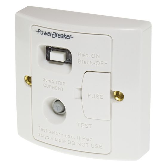 Image of Powerbreaker Unswitched RCD Fused Spur 13A DP Latching White