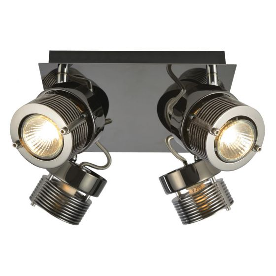 Image of Inlight Pedro Quad Plate GU10 Indoor Spotlight Black Chrome Steel