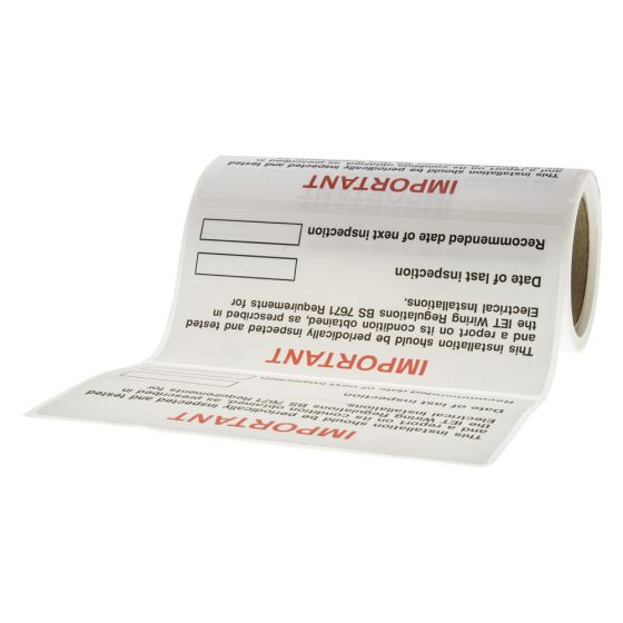 Image of Periodic Inspection Sticker 130 x 60mm Self Adhesive Vinyl Label Roll of 100