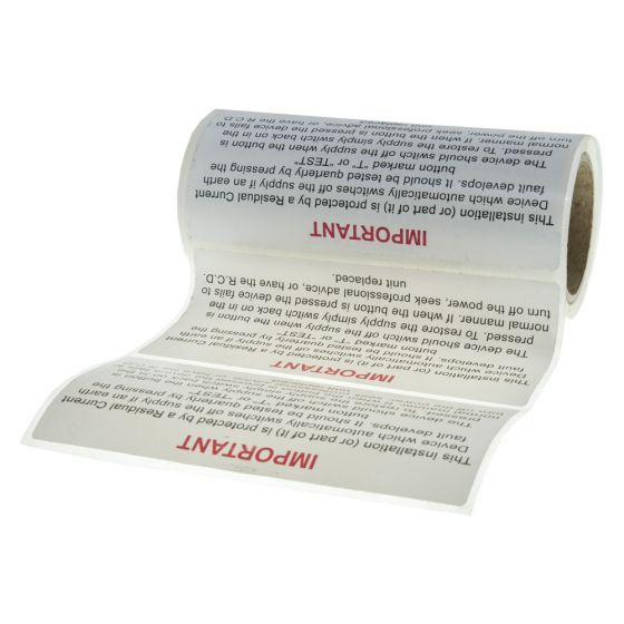 Image of RCD Test Sticker 130 x 60mm Self Adhesive Vinyl Label Roll of 100