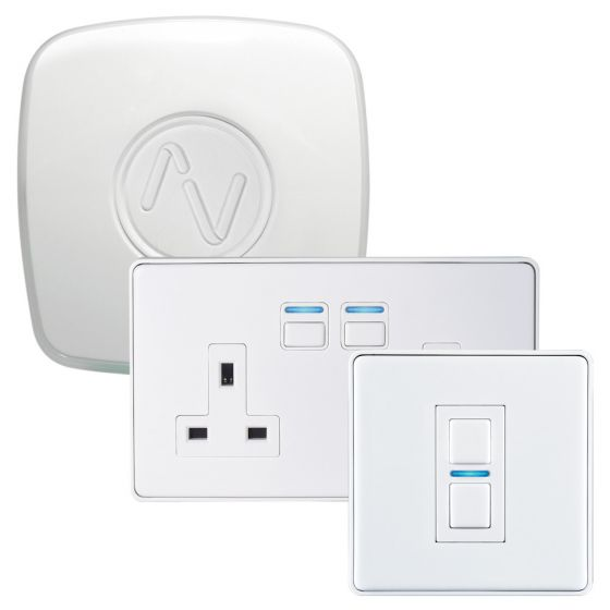 Image of Lightwave L21422WH Smart Home Wifi Lighting & Power Starter Kit Gen 2 White