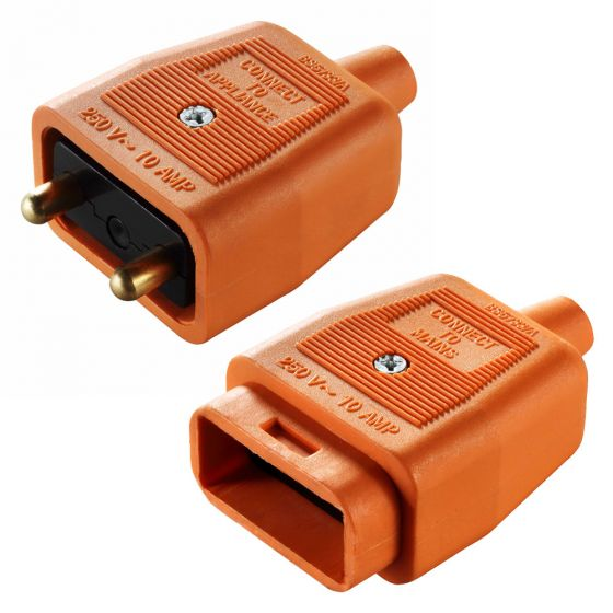 Image of Masterplug 10A Inline Connector 2 Pin Orange Outdoor Power and Lighting
