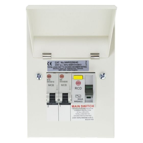 Image of Wylex NMRS206/40GWU Garage Consumer Unit 2 Way 40A 30mA RCD and 2 MCBs