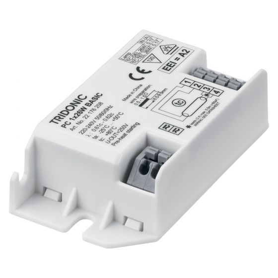 Image of Tridonic PC 1X26W Basic Ballast HF 2D and Compact Fluorescent Lamps