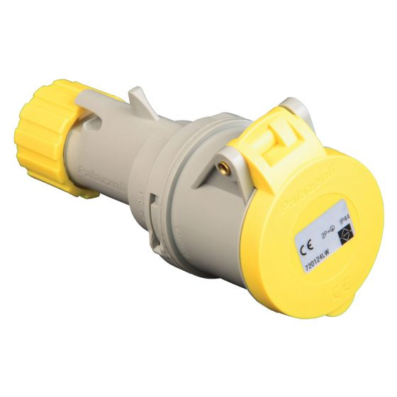 Image of Lewden 32A 110V Yellow Industrial Connector 3 Pin Weatherproof IP44