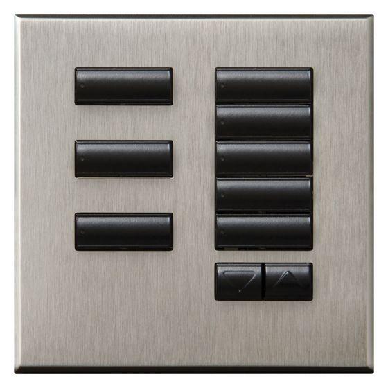 Image of GRAFIK QS QSWE-8BRLN-SN 8 Button Keypad Wallstation Raise/Lower Satin Nickel