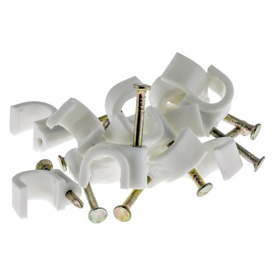 Image of Tower 70CWRC9 Round Cable Clip 9mm Diameter Flex White Pack 100