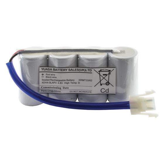 Image of Emergency Lighting Battery 4 Cell Plate 4.8V 4aH Lead and Connector