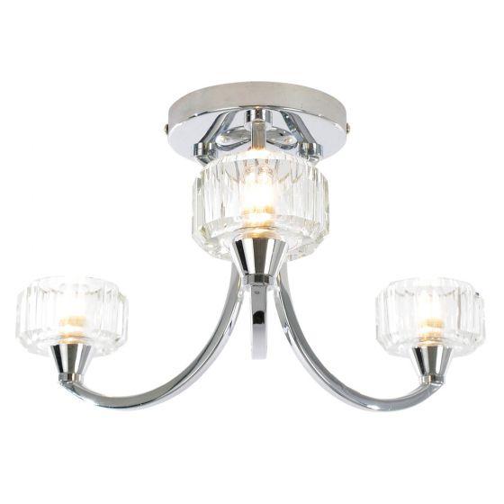 Image of Spa Octans Three Head Bathroom Ceiling Light 3x G9 28W Glass Chrome