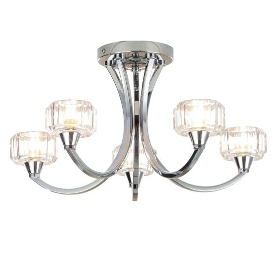 Image of Spa Octans Five Head Bathroom Ceiling Light 5x G9 28W Glass Chrome