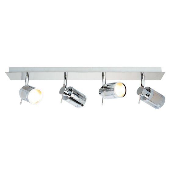 Image of Spa Scorpius Bathroom Four Spotlight Ceiling Bar GU10 35W Chrome Glass