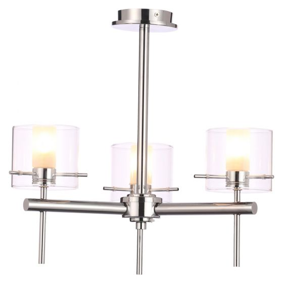 Image of Spa Gene Bathroom Triple Ceiling Light 3x 28W G9 Clear Cylinder Chrome