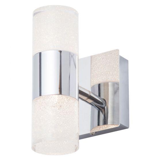 Image of Spa Oslo Crackle Bathroom LED Wall Light 6W Chrome Opal