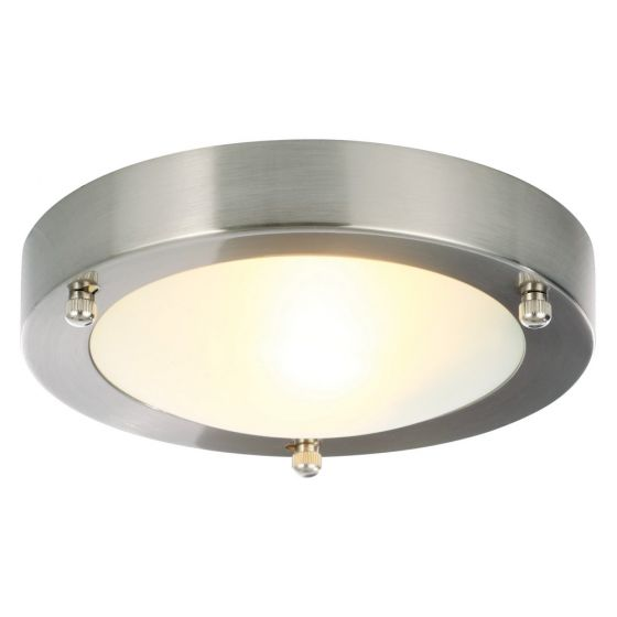 Image of Spa Canis Small Round Bathroom Ceiling Light 1x 28W G9 Nickel