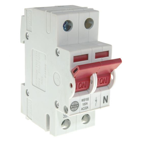 Image of Wylex WS102 Main Switch Isolator 100A DP 2 Module