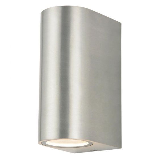 Image of Forum Zinc Antar Outdoor Wall Light GU10 Up and Down Stainless Steel