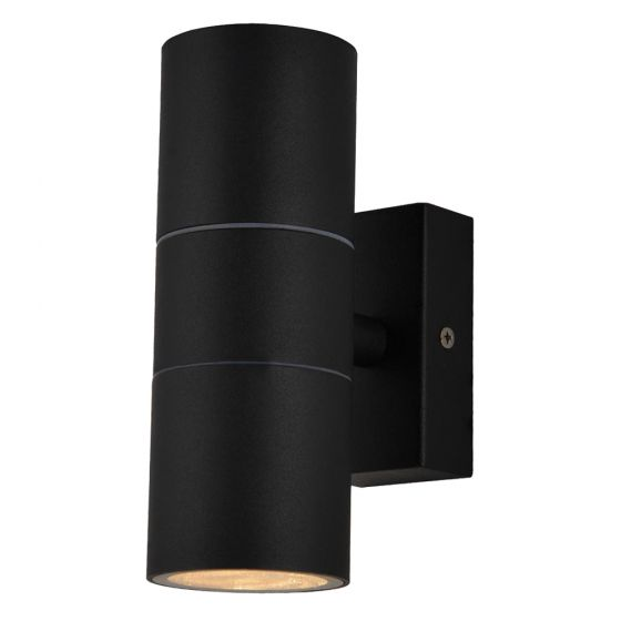Image of Forum Zinc Leto Outdoor Wall Light GU10 Up and Down Black Steel