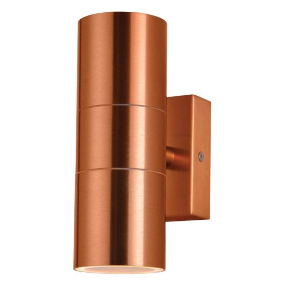 Image of Forum Zinc Leto Outdoor Wall Light GU10 Up and Down Copper Steel