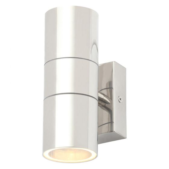 Image of Forum Zinc Leto Outdoor Wall Light GU10 Up and Down Polished Steel