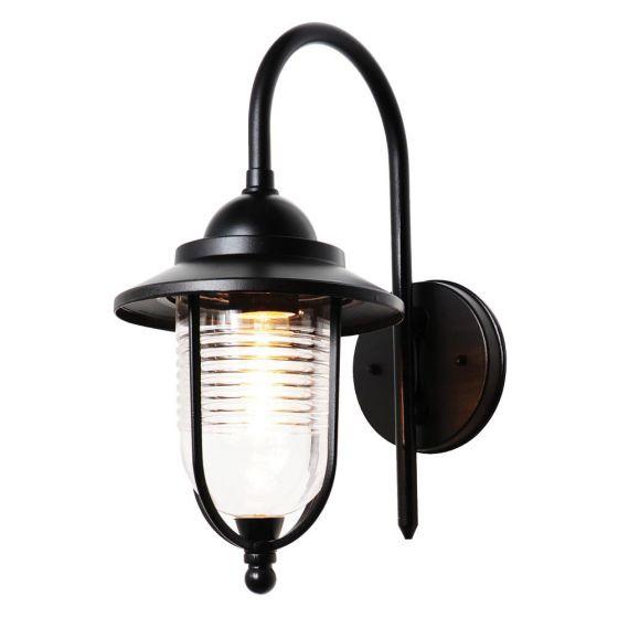 Image of Forum Zinc Eris Outdoor Fishermans Lantern Light ES (E27) Black Glass