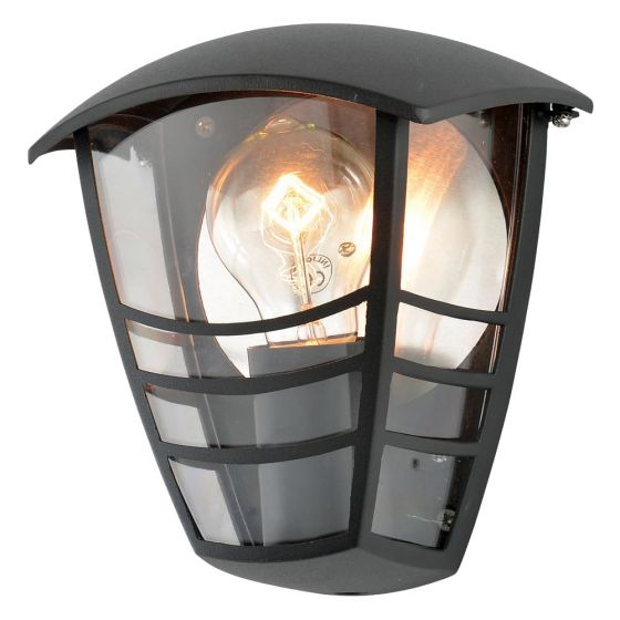 Image of Forum Zinc Perdita Outdoor Wall Half Lantern Light ES (E27) Black