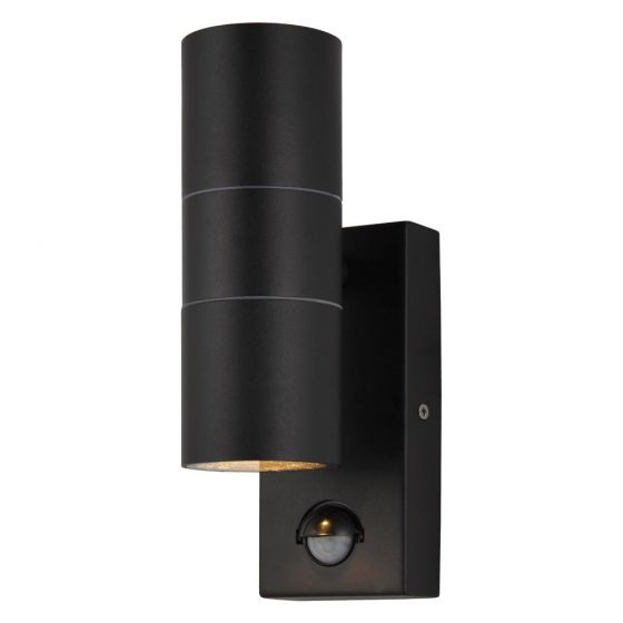Image of Forum Zinc Leto PIR Outdoor Wall Light GU10 Up and Down Black