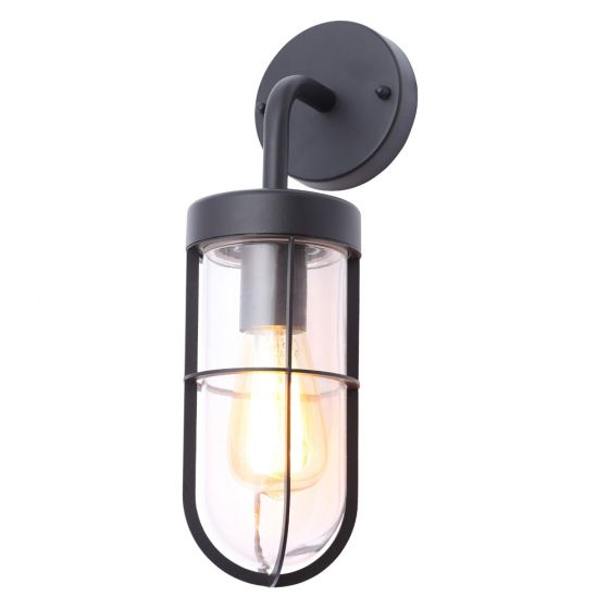 Image of Forum Woking Caged Outdoor Wall Lantern Light ES (E27) Black Glass